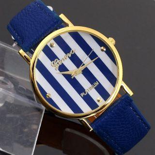 Leatheroid Klassische Genfer Streifen Drucken Analoge Quarz - Armbanduhr Bild
