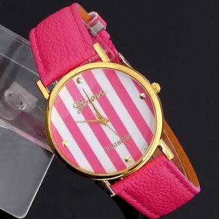 Männer Leatheroid Klassische Genfer Streifen Print Analog Quarz - Armbanduhr Bild