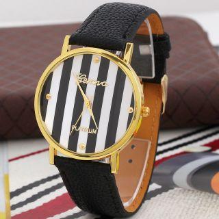 Neue Genfer Frau Mann Klassische Streifen - Druck Leder Analog Quarz - Armbanduhren Bild