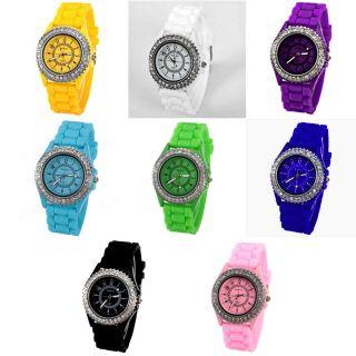 Modische Damenuhr Silikon Armbanduhr Strass Trend - Uhr Geschenkidee (u - D46) Bild