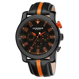 Armbanduhr Herren Akribos Ak554or Quartz Multifunktion Sport Leder Riemen Bild