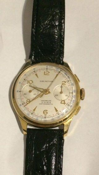 Landeron 248 Orator Chronograph Uhr Vintage 1950 - 60 Swiss Watch Bild