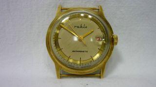Orig.  Alte Ruhla M24 Herren Armbanduhr Mit Datumsanzeige Bild