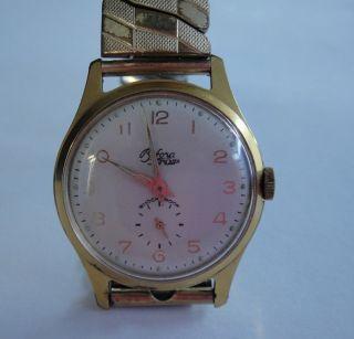 ✿● Alte (??) Bifora Top Handaufzug Shockproof In Gold Ziffern 1 - 12 Bild
