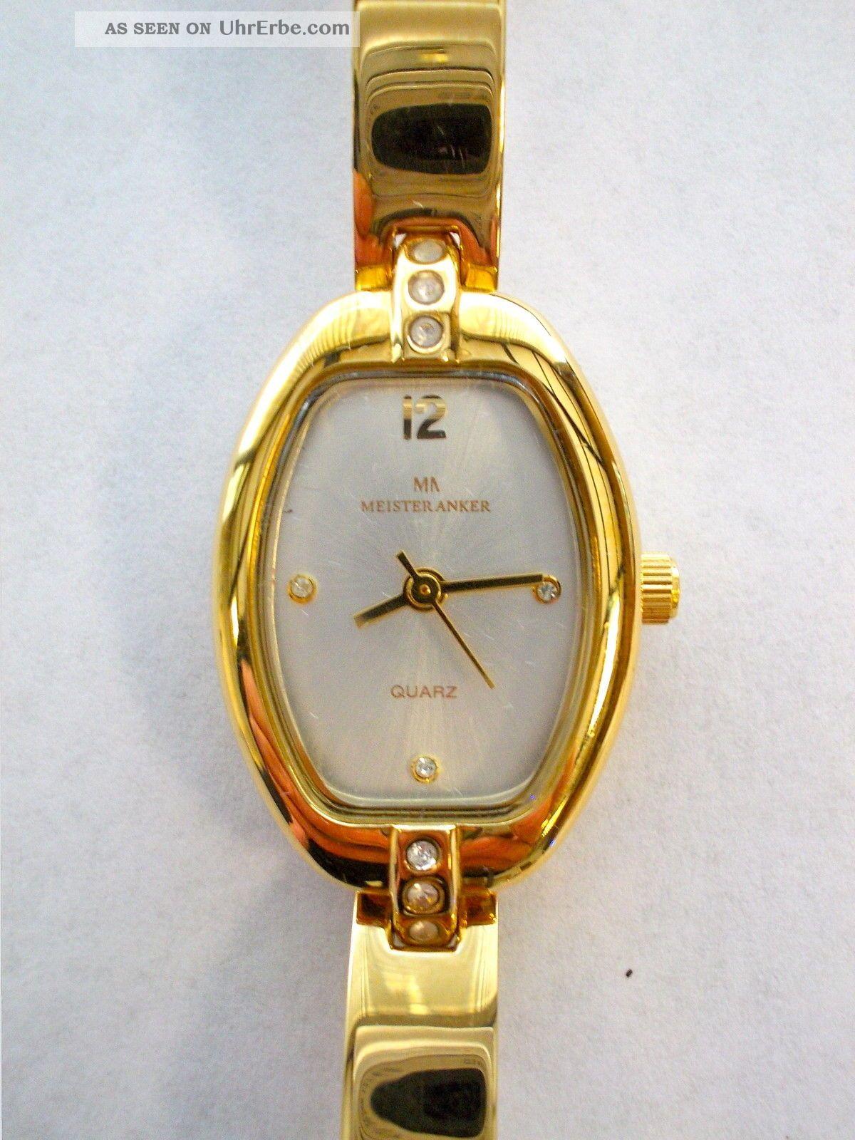 vergoldete meister anker 087 152 5 243 quarz damenuhr armband uhr edelstahl. Black Bedroom Furniture Sets. Home Design Ideas