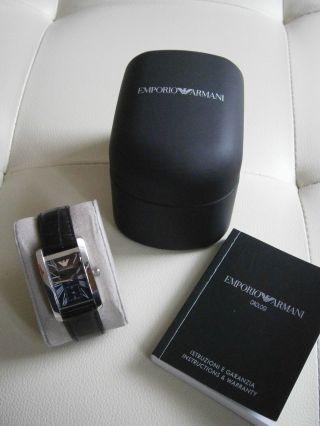 Emporio Armani Damen Uhr Klassik Schwarz Leder Ovp Bild