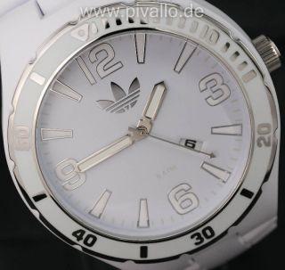 Adidas Melbourne Herrenuhr / Herren Kunststoff Uhr Weiß Silber Datum Adh2688 Bild