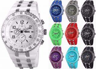 Qbos Unisexuhr Damen Herren Uhr Mit Silikon Armband Blau Weiß Schwarz Lila Grün Bild