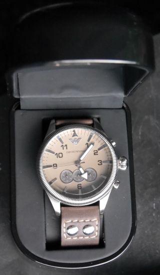 Armani Emporior Herrenuhr Lederarmband Chronometer 50m Wr 5atm Stainless Steel Bild