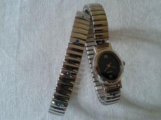 Damen Quartz Uhr,  Armband Silberfarben Mit Blaue Strasssteine,  Yves Roche, Bild