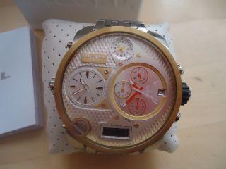 Silber Diesel Sba Big Daddy Chronograph 4zeitzone Chronograph Stoppuhr Uhr Bild