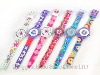 Kinder Mädchen Armbanduhr Quarz Spaß Blumen 6 Designs Silikon Armband Bild
