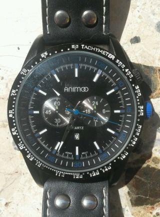 Animoo Xxl Uhr Herren Armbanduhr Teens - Schwarz/blau Datum Leder Analog Quarz Bild