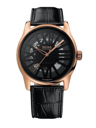 Hugo Boss 1512653 Automatic Gold Plated Skeleton Luxury Watch Bild