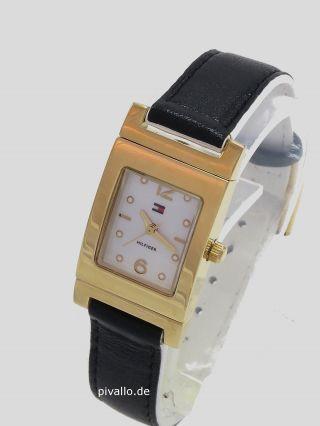 Tommy Hilfiger Damenuhr / Damen Uhr Leder Schwarz Weiß Gold 1781377 Bild