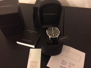 Emporio Armani Uhr Schwarz Leder Quartz Edelstahl Datum Poliert Ea Ovp Bild
