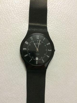 Skagen Denmark Slimline Titan Stahl Herren Oder Damen Uhr Schwarz Angebot Bild