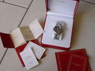 Rarität Große Cartier Pasha Ref.  1040 Herren Damen Uhr Edelst.  Zifferblatt Anthra Bild
