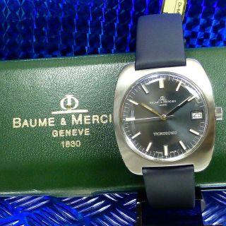 LÄssig Top Seltene 70èr Vintage Baume & Mercier Date Stimmgabel Stahl Herrenuhr Bild