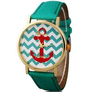 Genfer Streifen Drucken Leatheroid Band Analog Quarz - Armbanduhr Grün Bild