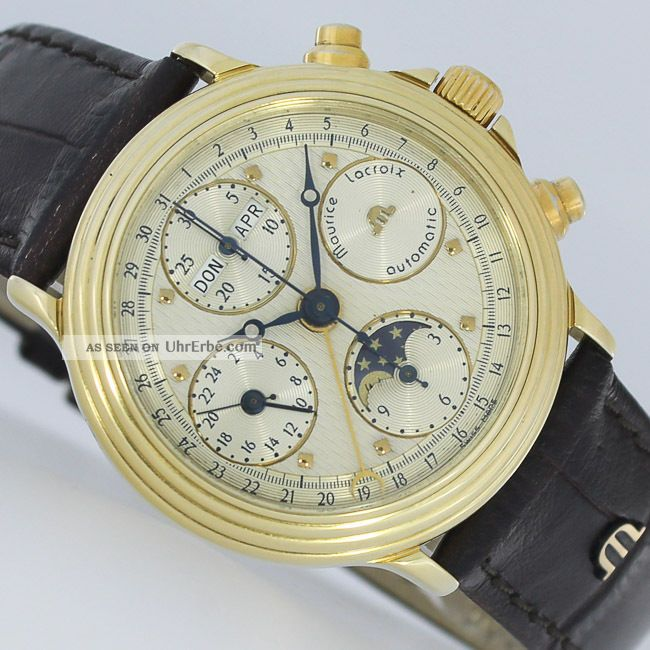 maurice lacroix gold kalender mondphase chronograph day date uhr box. Black Bedroom Furniture Sets. Home Design Ideas