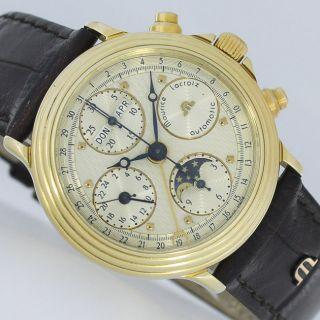 Maurice Lacroix Gold Kalender Mondphase Chronograph Day Date Uhr,  Box Bild