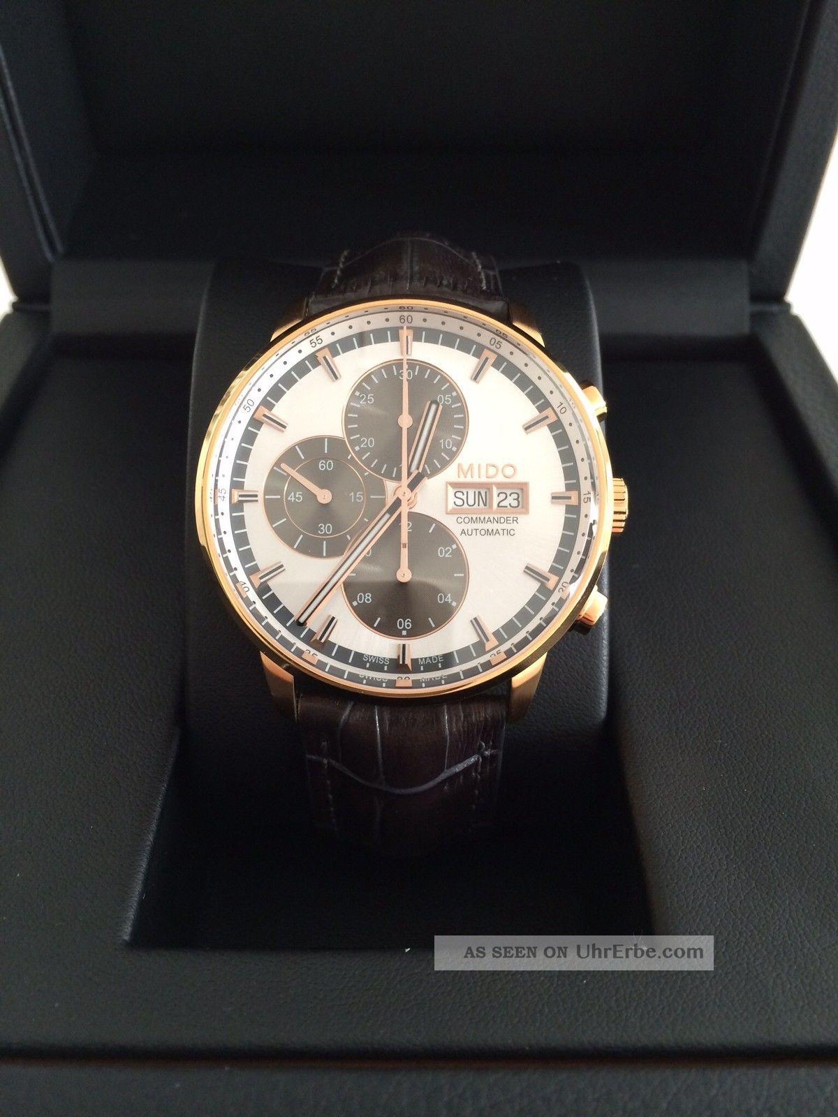 Mido Commander Ii Chronograph Rose Gold Pvd Mit Lederband Armbanduhren Bild