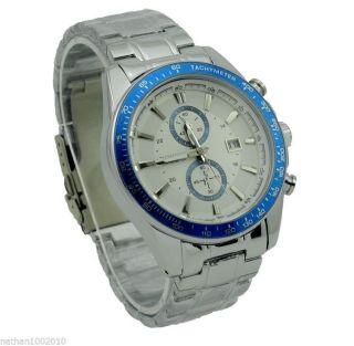 Armbanduhr Herren Fashion Edelstahl Blau Luxus Sport Bild
