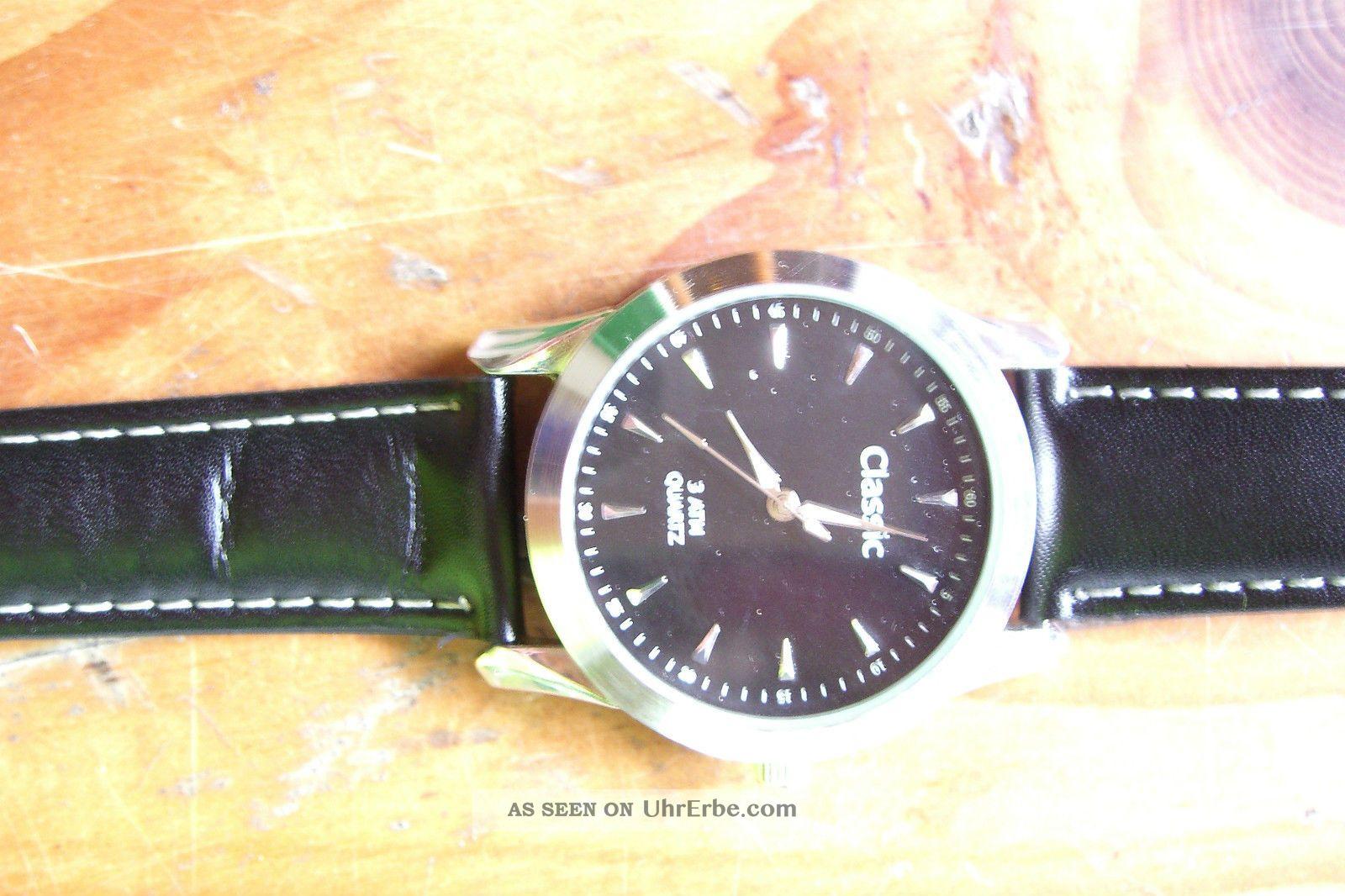 Armbanduhr Schwarz Lederarmband Ohne Batterie Armbanduhren Bild