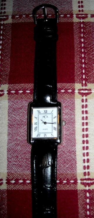 Ovp Armbanduhr Damen Kunst Leder Armband Krokoprägung Römische Zahlen Viereckig Bild