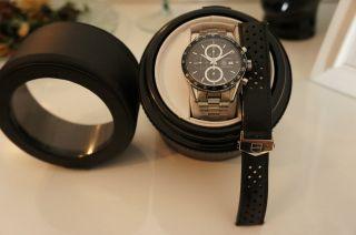 Tag Heuer Carrera Tachymeter Armbanduhr Uhr,  Orig.  Lederband Mit Faltschließe Bild