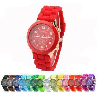 Farbwahl Unisex Genf Silikon Rubber Quarz Sport Armbanduhr Uhr Silicone Watch Bild
