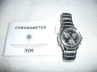 Neuwertige Herren Armbanduhr Chronograph Tcm Silber - Quarz Edel Gelegenheit Bild