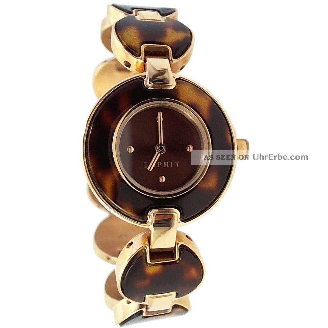esprit damenuhr armbanduhr rosegold gold bernstein farben. Black Bedroom Furniture Sets. Home Design Ideas