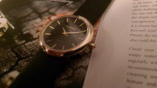 Pandora Uhr Damenuhr Gold/schwarz Lederarmband - Mit Etikett Bild