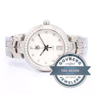 Armbanduhr Tag Heuer Edelstahl Quarz Uhr Strass Blende Silber Ziffernblatt Bild