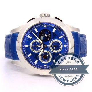 Armbanduhr Perrelet Kalender Mond Edelstahl Blaues Ziffernblatt A1058/2 Bild