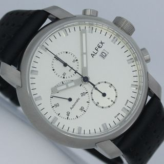 Alfex Automatik Chronograph Plum Design Eta Valjoux 7750 Edelstahlneu Bild