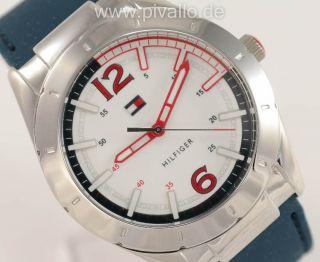 Tommy Hilfiger Damenuhr / Damen Uhr Silikon Armband Drehbar Blau Rot 1781193 Bild