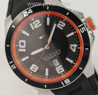 Tommy Hilfiger Herrenuhr / Herren Uhr Silikon Schwarz Orange Datum 1790861 Bild