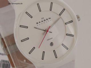Skagen Designs 233xlclw Herrenuhr / Herren Uhr Keramik Ceramic Datum Leder Bild