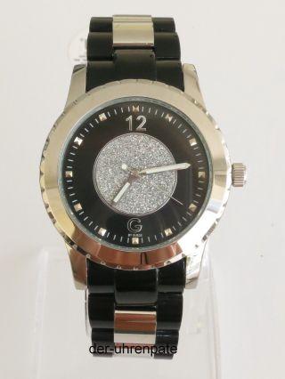 Guess Damenuhr / Damen Uhr Edelstahl Schwarz Silber Strass G84049l2 Bild
