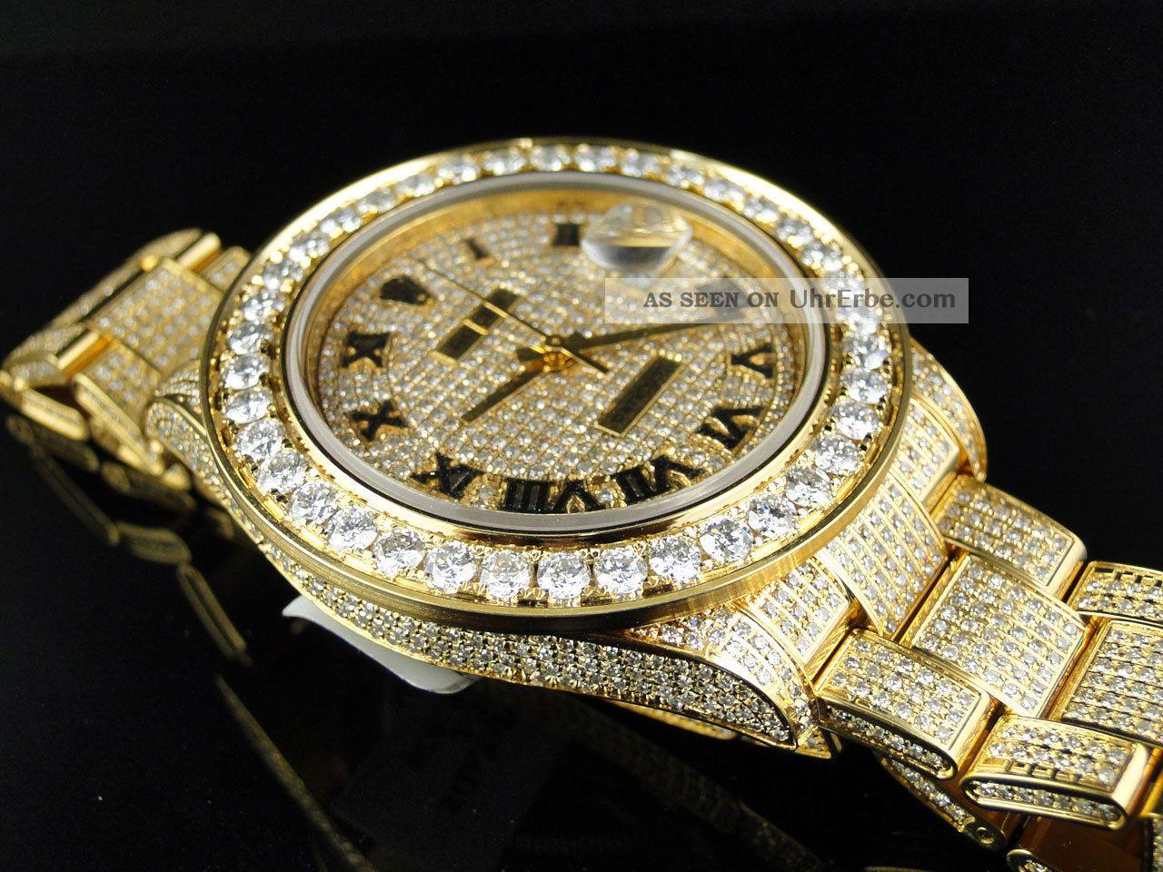 herren armbanduhr rolex date just ii 2 mit echten diamanten 45mm gelbgold. Black Bedroom Furniture Sets. Home Design Ideas