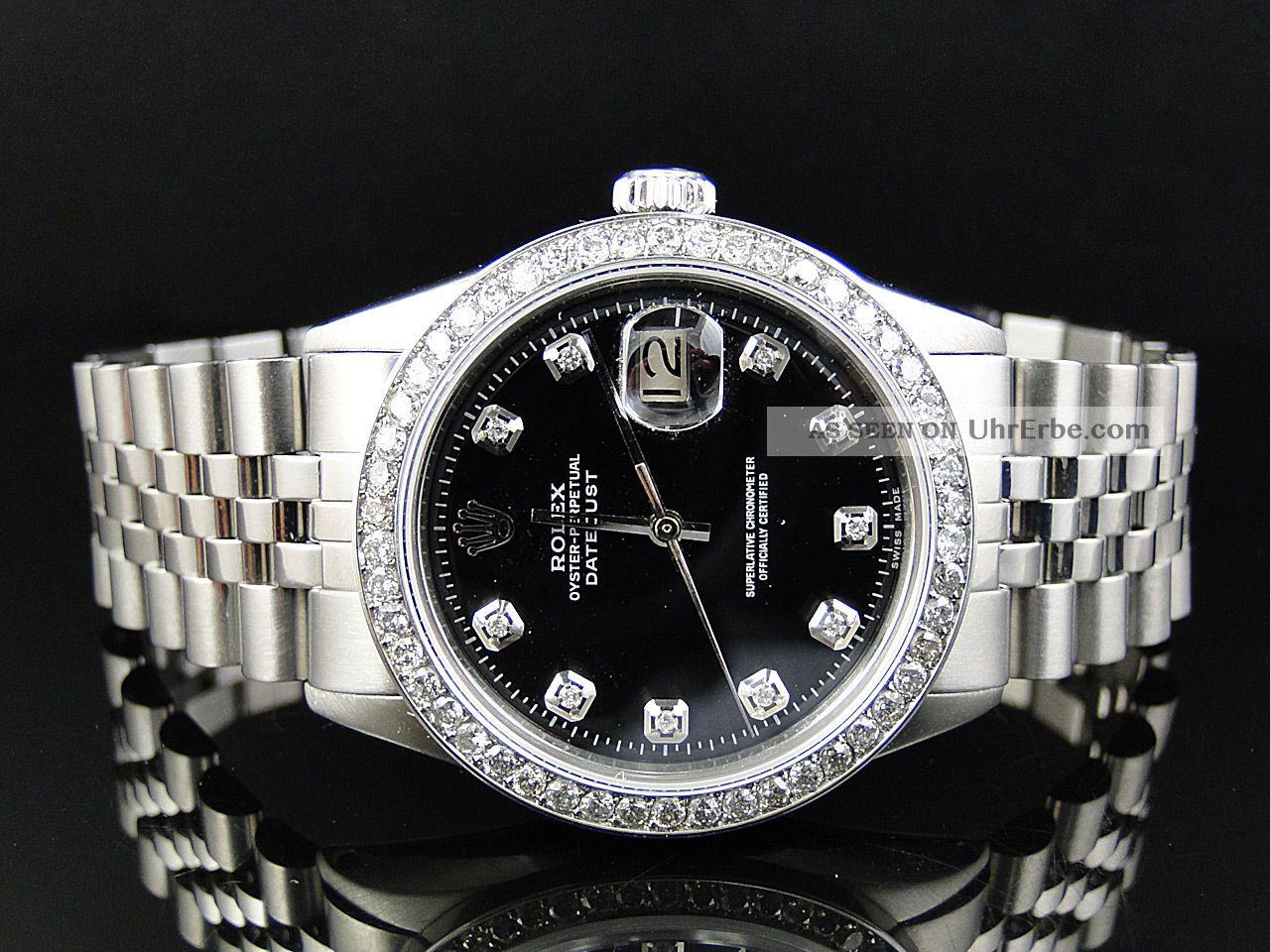 herren armbanduhr rolex datejust jubilee 2 15ct diamant edelstahl. Black Bedroom Furniture Sets. Home Design Ideas