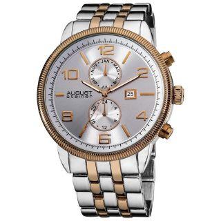 Armbanduhr Herren August Steiner As8069ttr Swiss Quartz Münze Rand Lünette Bild
