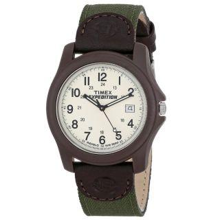 Unisex Armbanduhr Timex T49101 Expedition Zifferblatt Weiß Mit Grün/braunband Bild