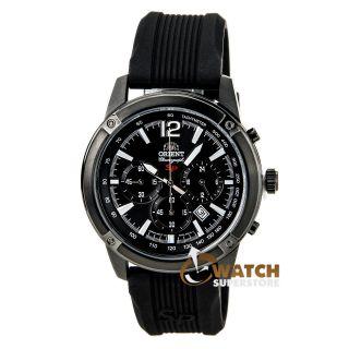 Herren - Chronograph Orient Tw01002b Sp,  Schwarzes Zifferblatt,  Gummi - Stahl Armband Bild