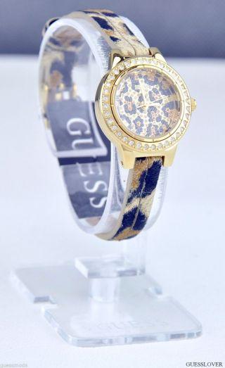 Uhr Uhren Guess Armbanduhr Damen Petite Leopard Leder Quarz Deu Bild