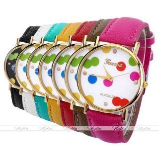 Jy Lässig Pu Leder Uhrarmband Groß Polka Dots Gold Gehäuse Quarzuhr Armbanduhr Bild
