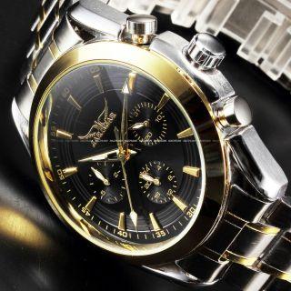 V Mode Herren Automatikuhr Tage Datum Stunden Edelstahl Armbanduhr Golden Bild